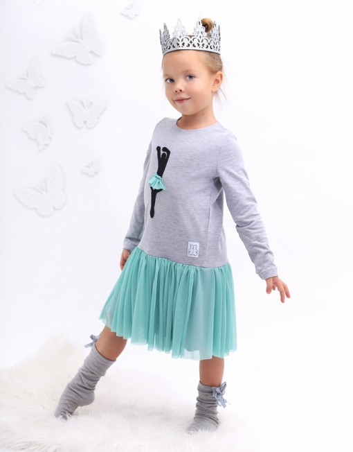 balerina-baletnica-sukienka-tiulowa-szara-miętowa