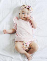 bluzeczka niemowleca falbanki rozowa