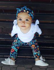baggy kwiaty bluzka biala dla niemowlaka