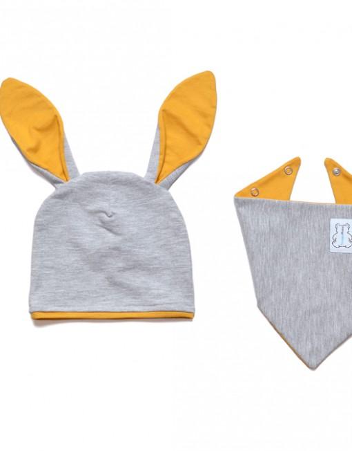 czapka-niemowlęca-dziecięca-uszy-musztardowe