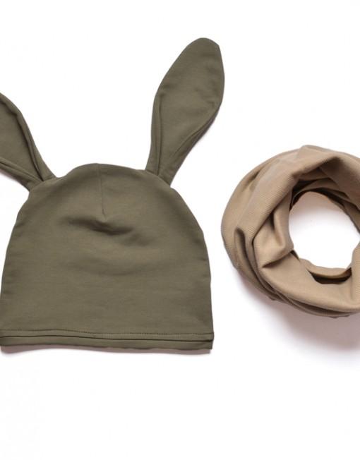 czapka-uszy-khaki-komin-beż-jesienny