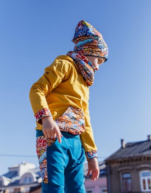 bluza-hoodie-musztardowa-kaptur-grafitti