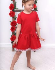 elegancka sukienka dla dziewczynki z koronką czerwona