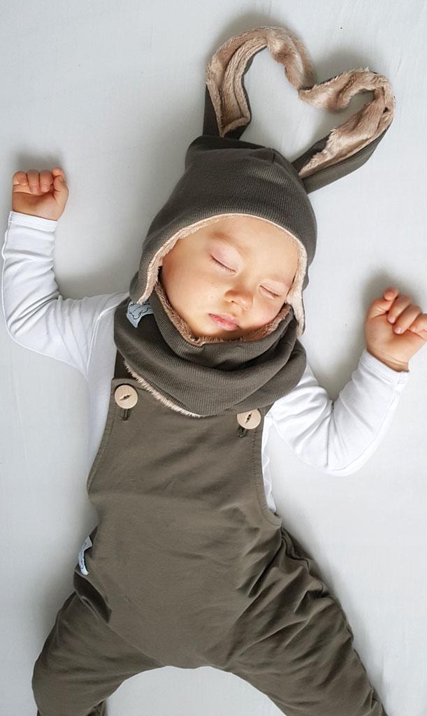 czpka niemowleca uszy khaki ogrodniczki