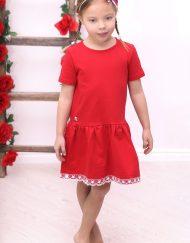 sukienka z koronką czerwona dla dziewczynki