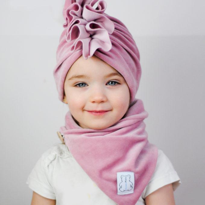 turban welurowy dla dziewczynki