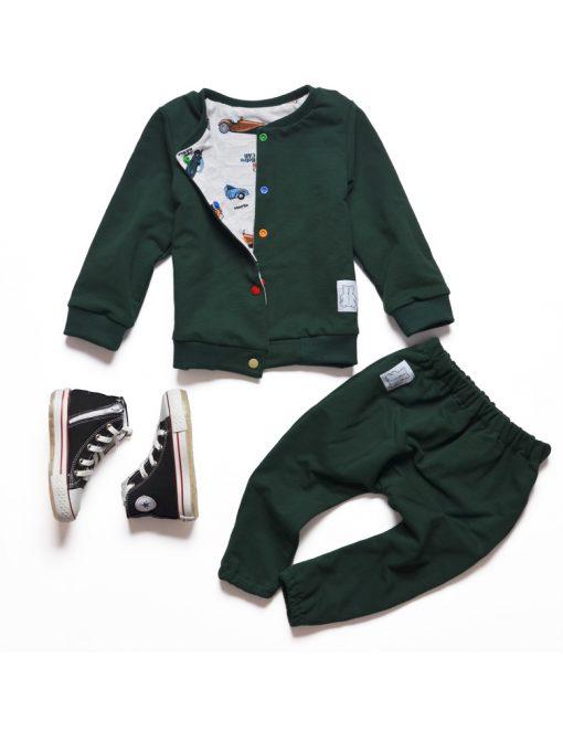 kurtka dziecięca zielona auta baggy