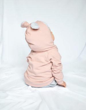 bluza niemowlęca z uszami różowa