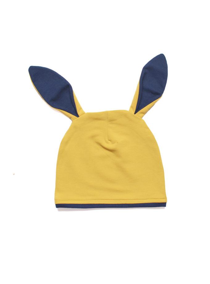 czapka z uszami musztardowa