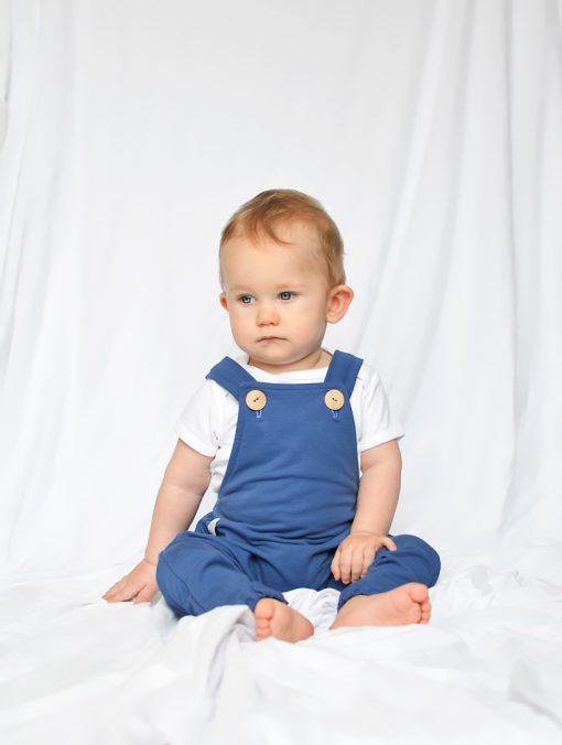 spodnie ogrodniczki niemowlęce niebieskie