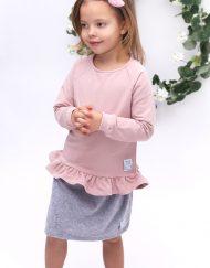 bluza różowa falbanka dla dziewczynki spódnica
