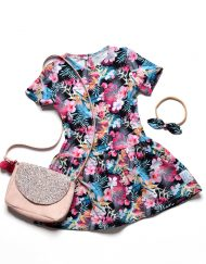 sukienka kwaty dla dziewczynki z falbanką