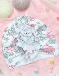turban na wiosne dla dziewczynki kwiaty