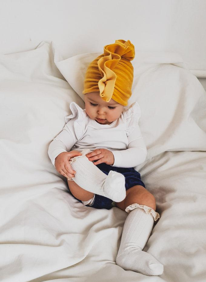 turban welurowy dzieciecy