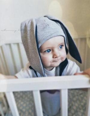czapka niemowlęca długie uszy szara granat