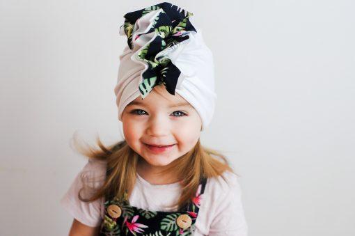 turban letni biały dla dziewczynki