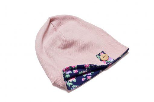 czapka dziewczęca kwiaty