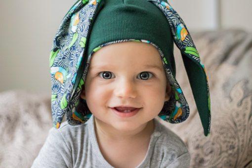 czapka pilotka uszy zielona