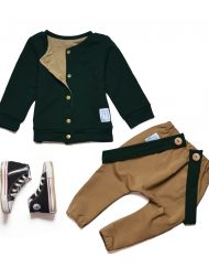 komplet jesienny zielony dla chłopca