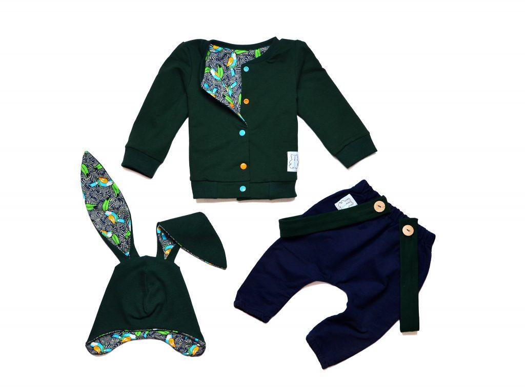 ubranka dla chłopca zieleń butelkowa