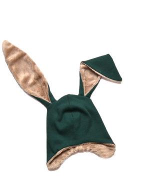 czapka zimowa chłopięca zielona z uszami