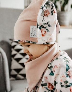 czapka uszy róże