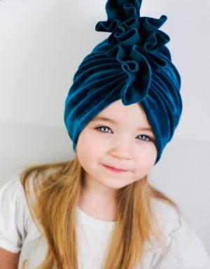 Turban dziecięcy welurowy