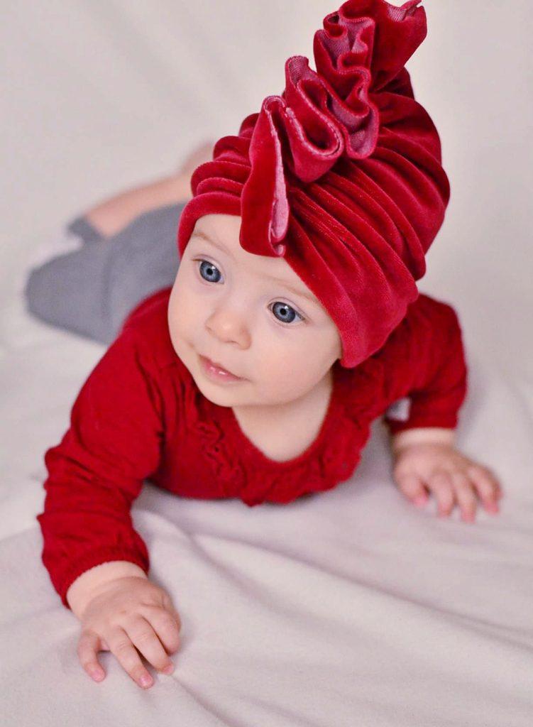 turban welurowy dziewczynka czerwony