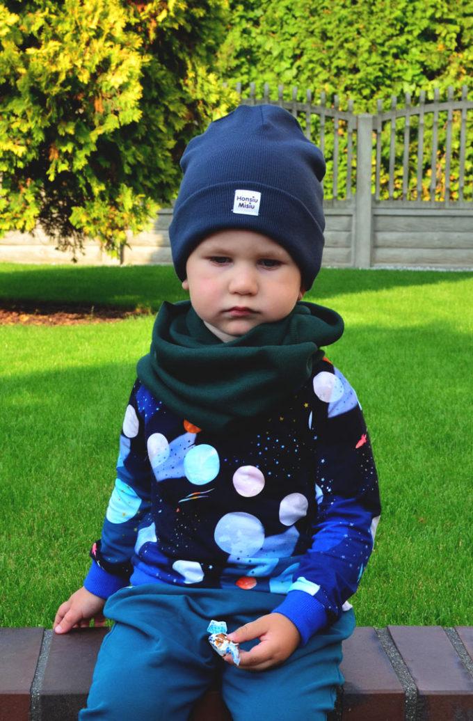 Czapka i komin dla chłopca jesień
