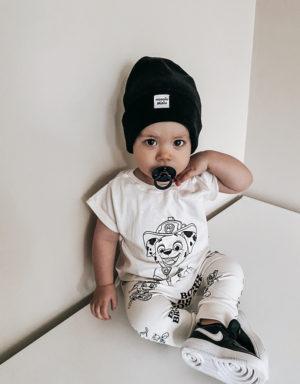 czapka niemowlęca prążkowana czarna