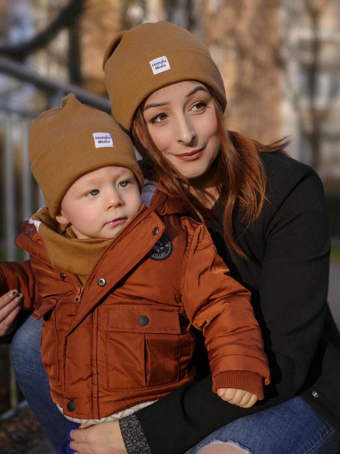 czapki mama dziecko