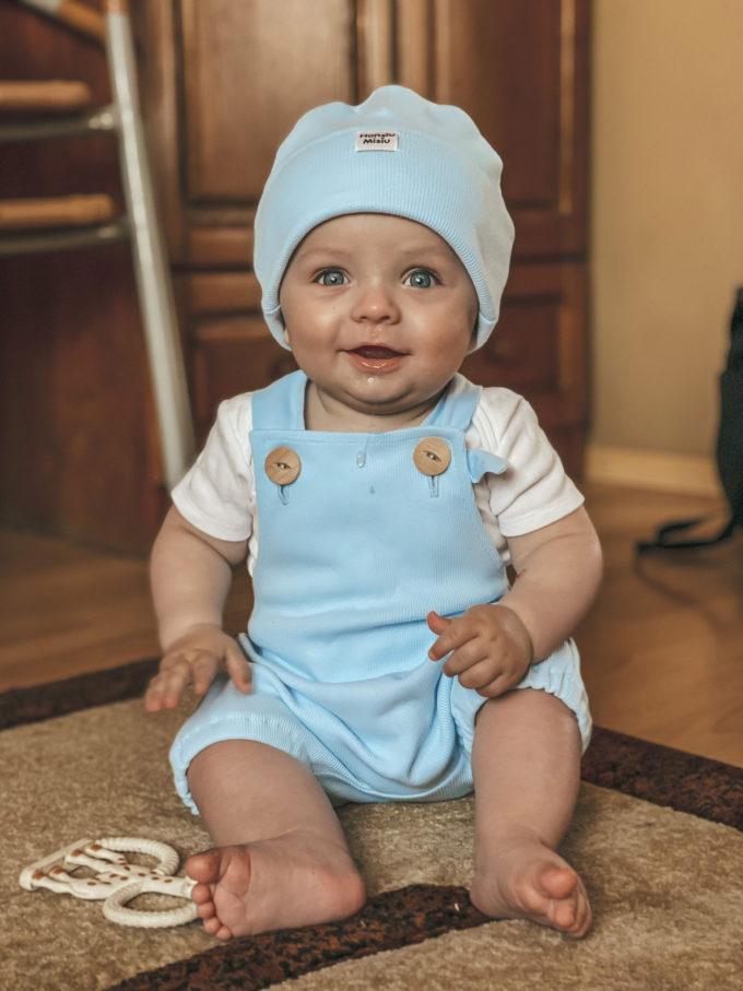 ogrodniczki niemowlęce baby blue