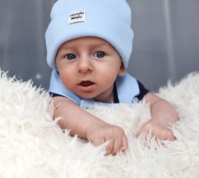 czapka beanie dziecięca baby blue