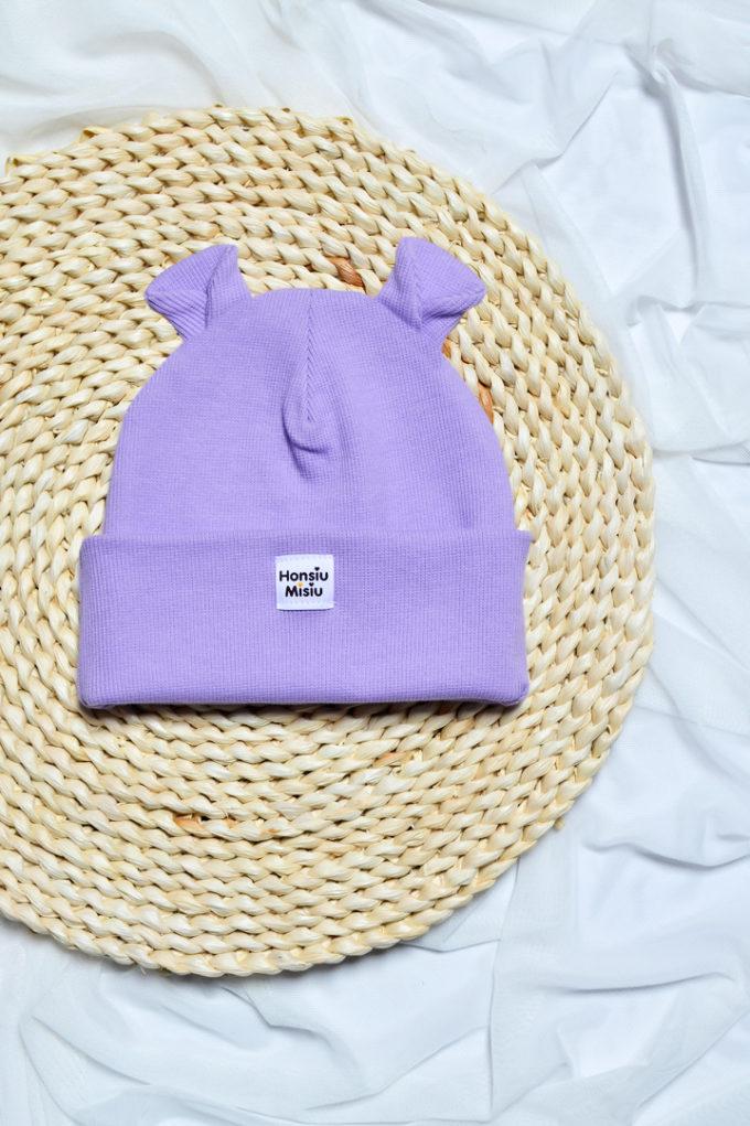 czapka z uszami fiolet