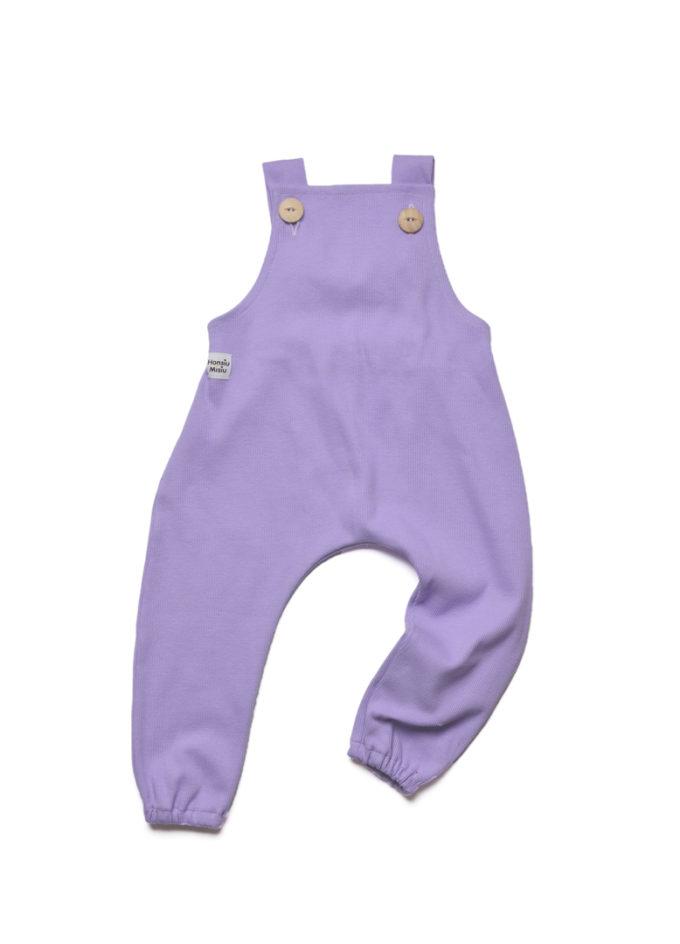 ogrodniczki niemowlece fioletowe prążek